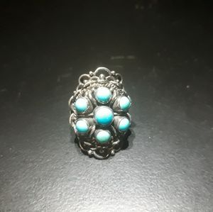 Natural Turquoise Cluster Ring H10